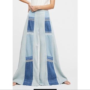 FREE PEOPLE WILLA PIECED WIDE-LEG JEANS